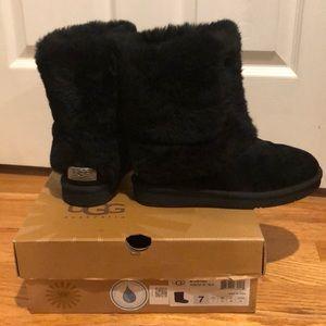 Black fur ugg boots